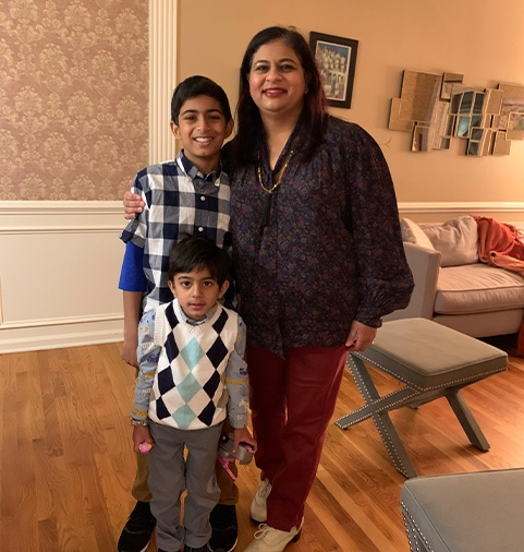 Dr. Shetty with her two sons